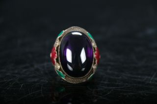Ancient Chinese Cloisonne Beads Miao Silver Edge Finger Ring E824 photo