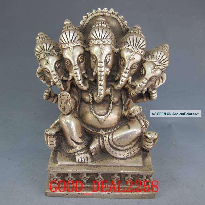 Tibet Silver Bronze Tibetan Buddhism Statue - Five Elephants Head Wealth Buddha Buddha photo