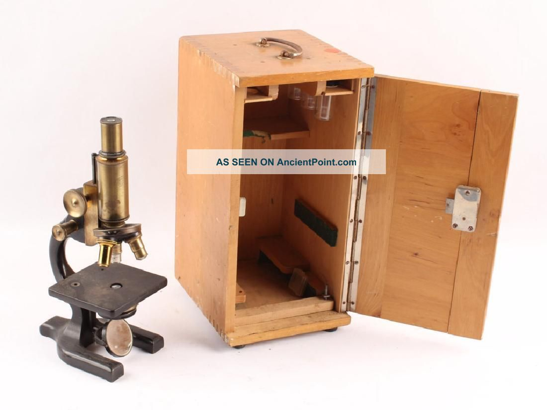 1925 Spencer Microscope Brass Leitz Wetzlar 10x Eyepiece Beck & Sohne Wood Case Microscopes & Lab Equipment photo