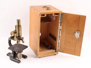 1925 Spencer Microscope Brass Leitz Wetzlar 10x Eyepiece Beck & Sohne Wood Case photo