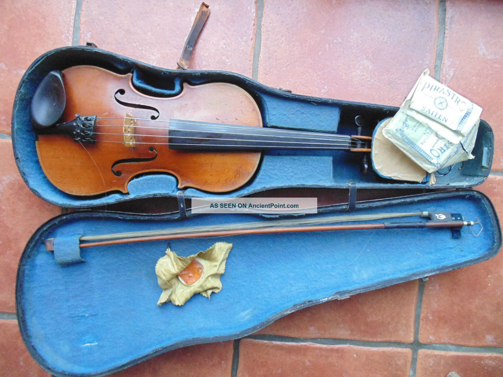 Antique Violin Viola Stradiuavius Wooden Case Bow String photo