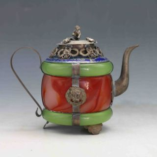 Chinese Handwork Old Jade Bracelet Inlaytibet Silver Dragon Teapot &monkey Lid photo
