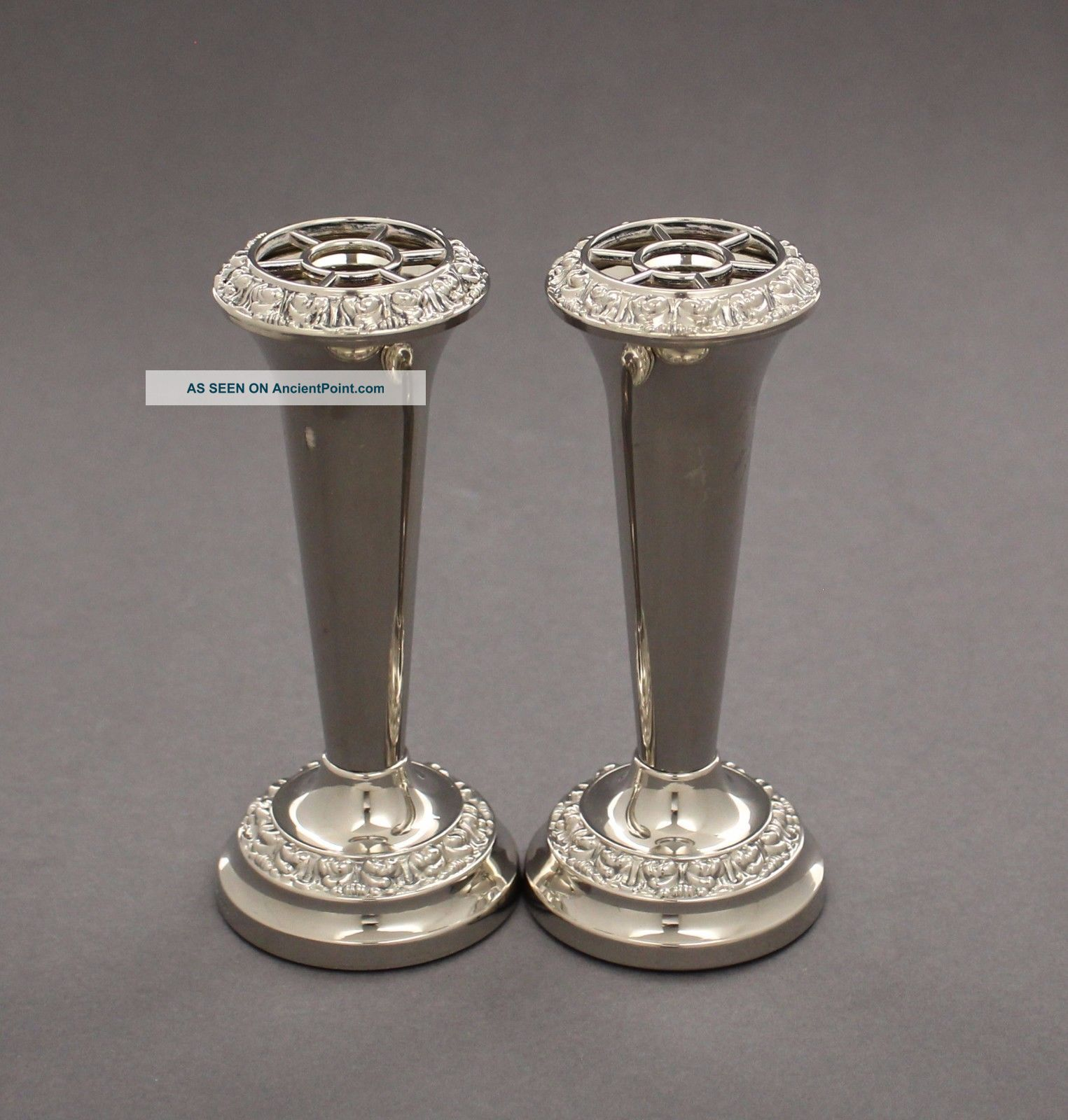 Vintage Silver Plate Pair 2 Trumpet Bud Vases Ianthe Floral Shabby Chic Retro Vases & Urns photo