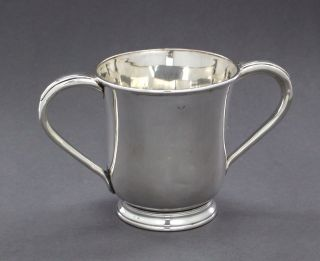 Antique Old Sheffield Silver Plate 1 Pint Loving Cup Two - Handle Jug Jewish Natla photo