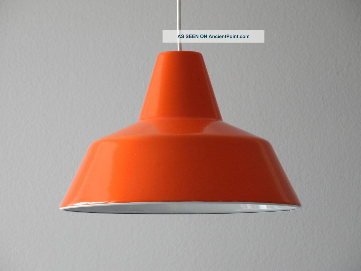 70s Louis Poulsen Enamel Factory Industrial Ceiling Lamp In Orange & White Mid-Century Modernism photo