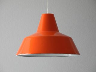 70s Louis Poulsen Enamel Factory Industrial Ceiling Lamp In Orange & White photo