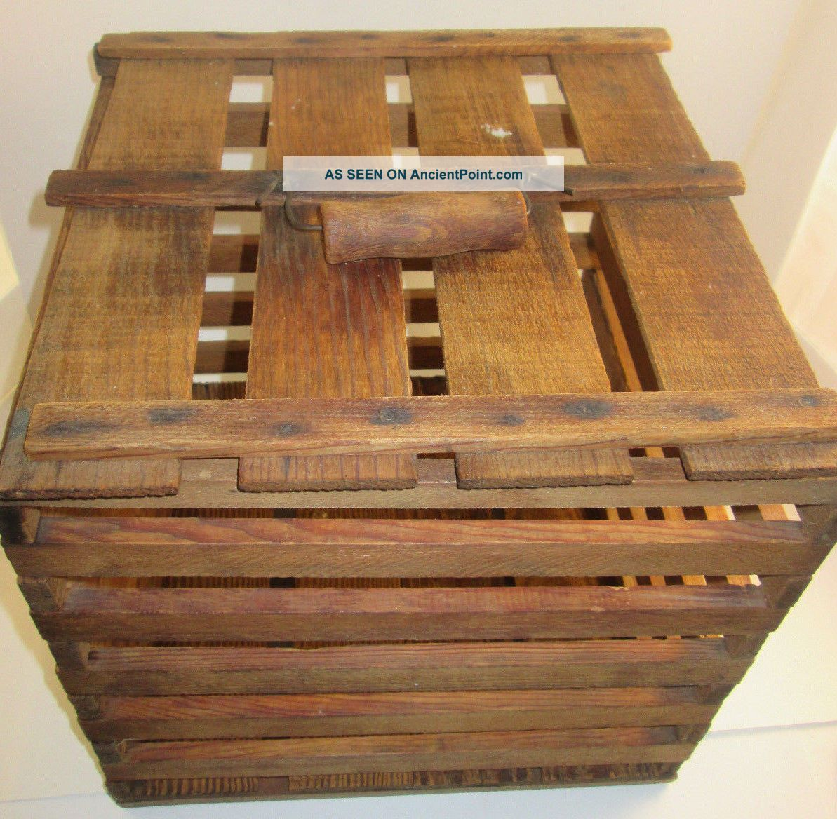 Egg Crate Wood Antique Vintage Primitive Box Carrier Lid Chicken Holds 144 Eggs Primitives photo