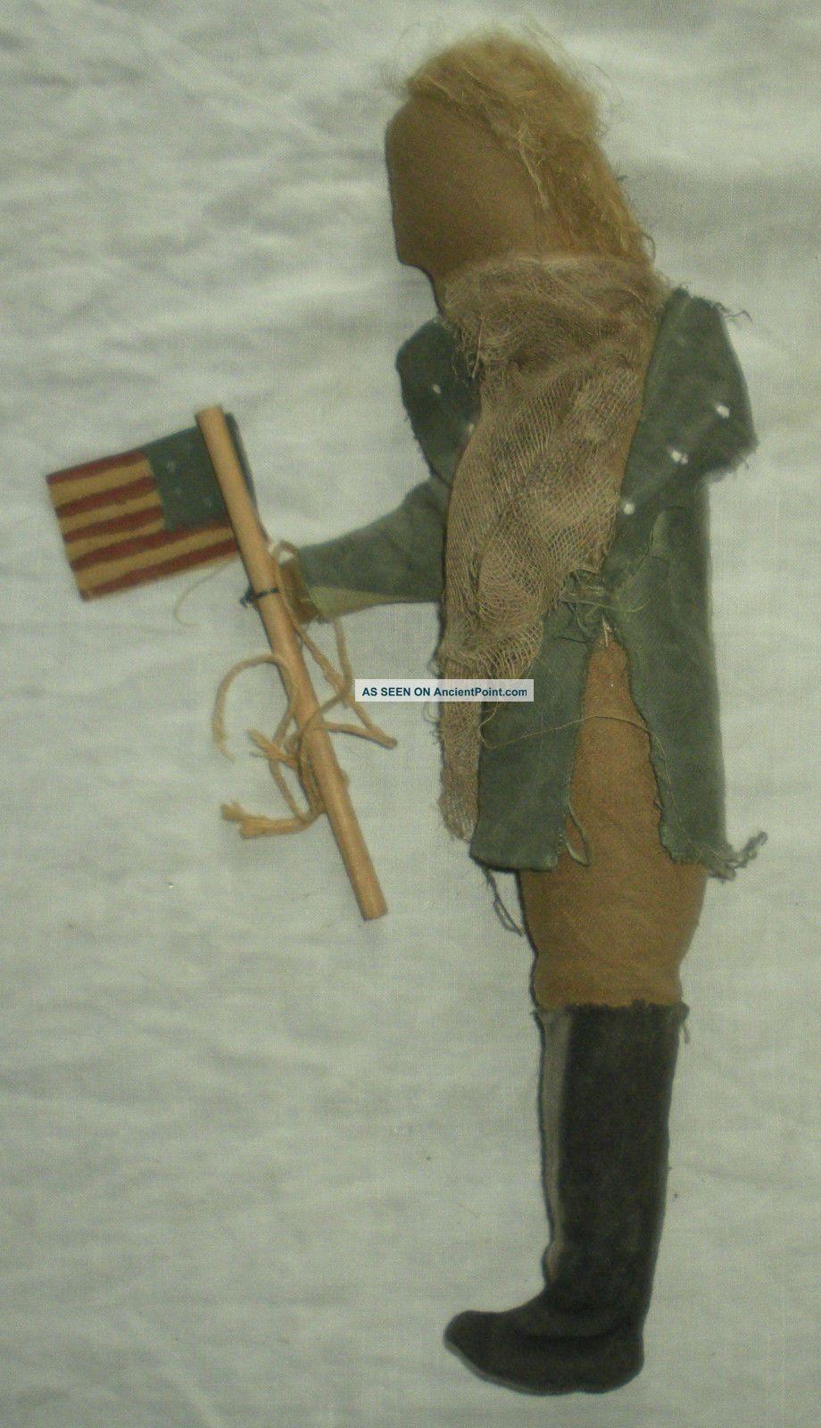Primitive George Washington Continental Soldier Revolutionary War Doll Flag Vafo Primitives photo