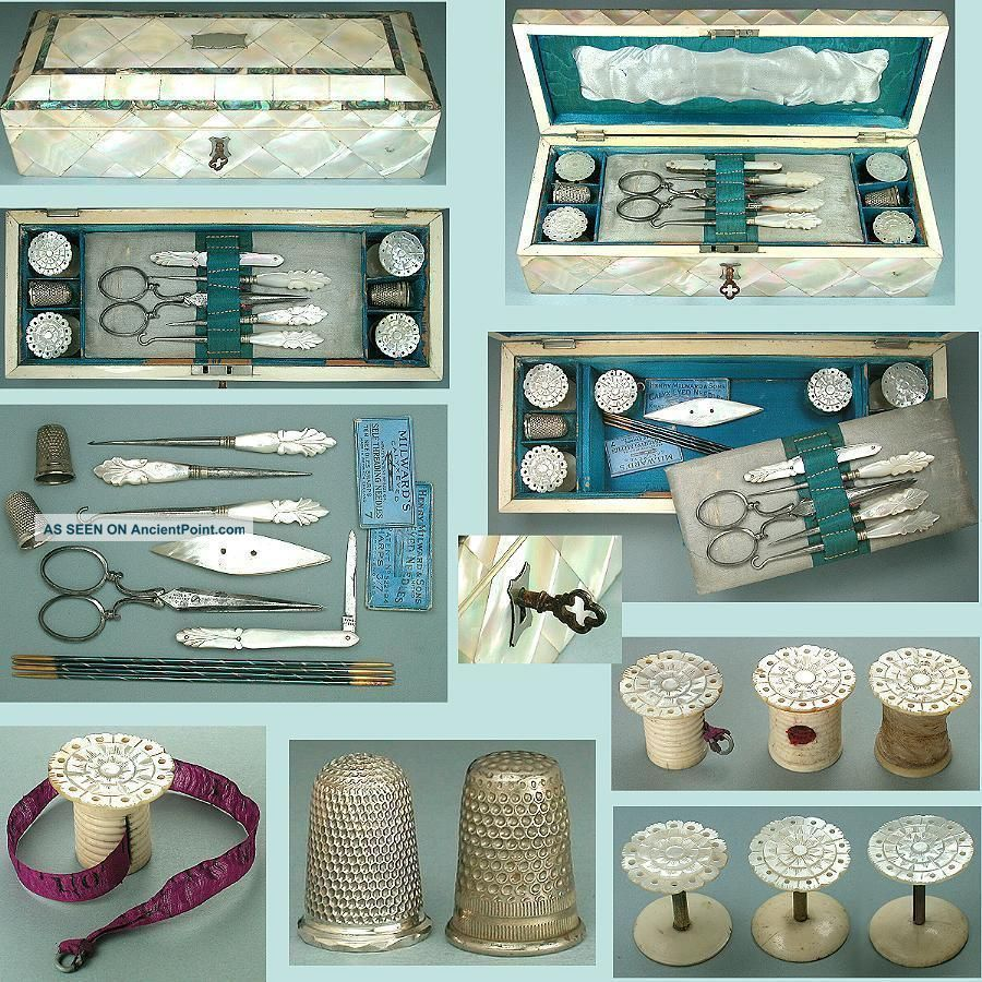 Antique Mother Of Pearl Cased Sewing Box W/ Tools & Sterling Thimble Circa 1850 Other Antique Sewing photo