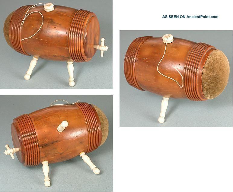 Antique Figural Keg Coquilla & Bone Spool Case / Pincushion Circa 1890 Pin Cushions photo