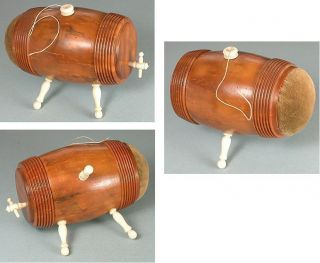 Antique Figural Keg Coquilla & Bone Spool Case / Pincushion Circa 1890 photo