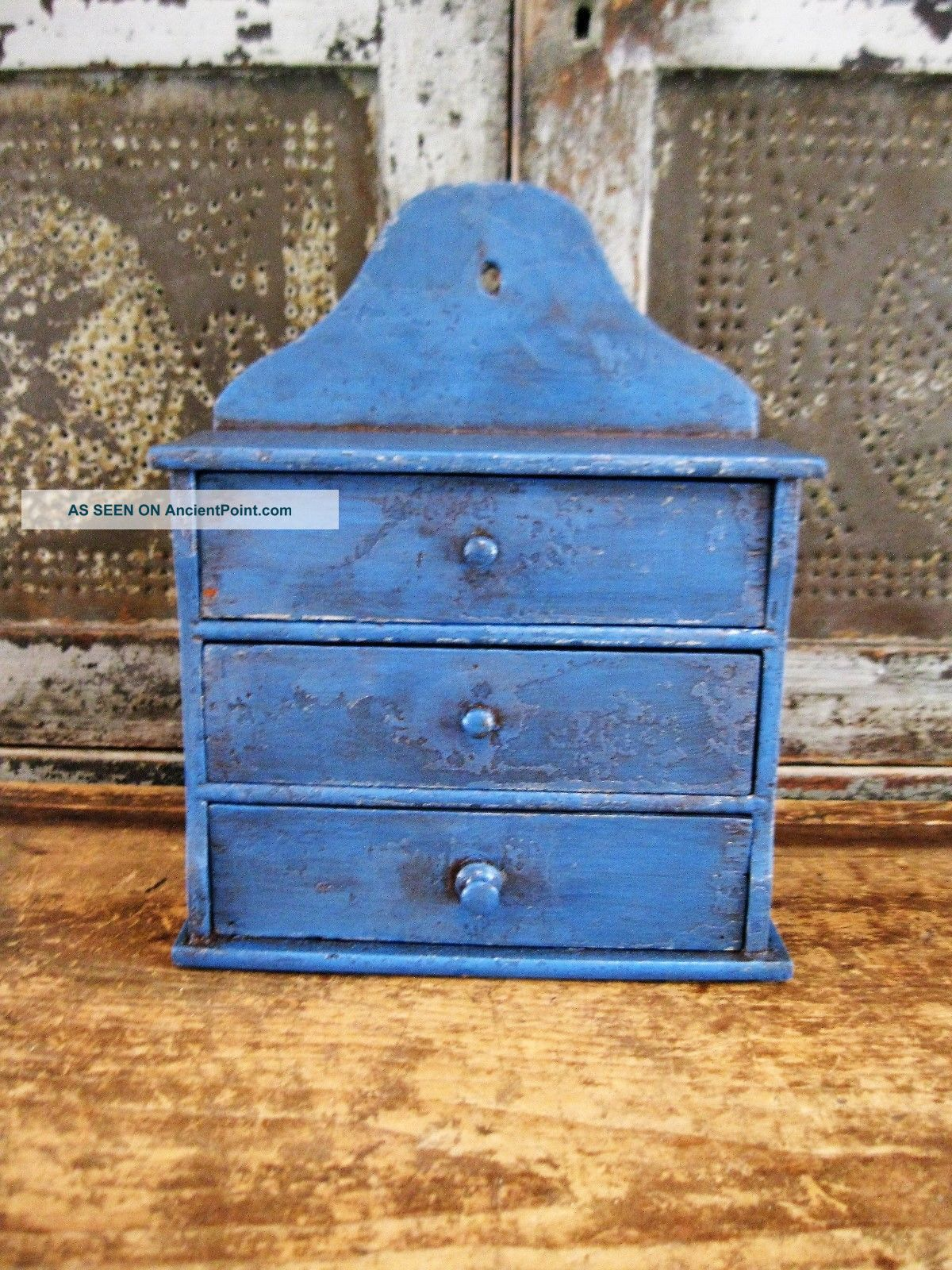 Early Antique 3 Drawer Spice Chest Worn And Primitive Blue Paint Primitives photo