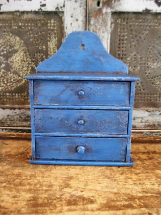 Early Antique 3 Drawer Spice Chest Worn And Primitive Blue Paint photo