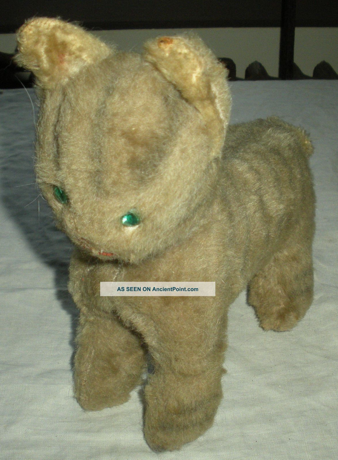 Vintage Mid 1900s Stuffed Animal Striped Cat Glass Eyes Vafo Primitives photo