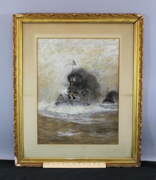 Antique Carlton Chapman Spanish American War Dreadnought Watercolor Painting Nr photo