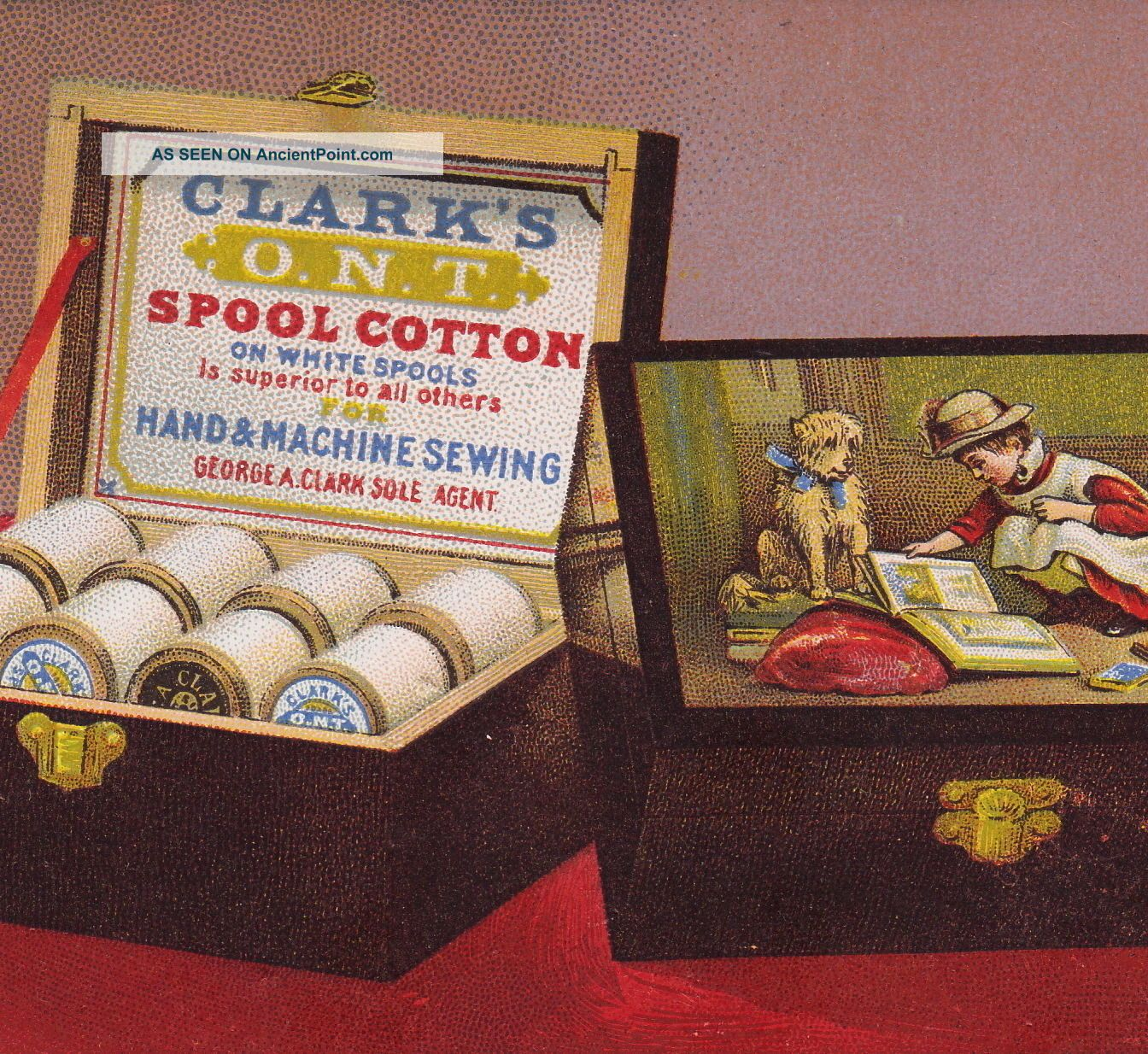 Antique 1800 ' S Clarks Sewing Thread Spool Box Victorian Advertising Trade Card Baskets & Boxes photo
