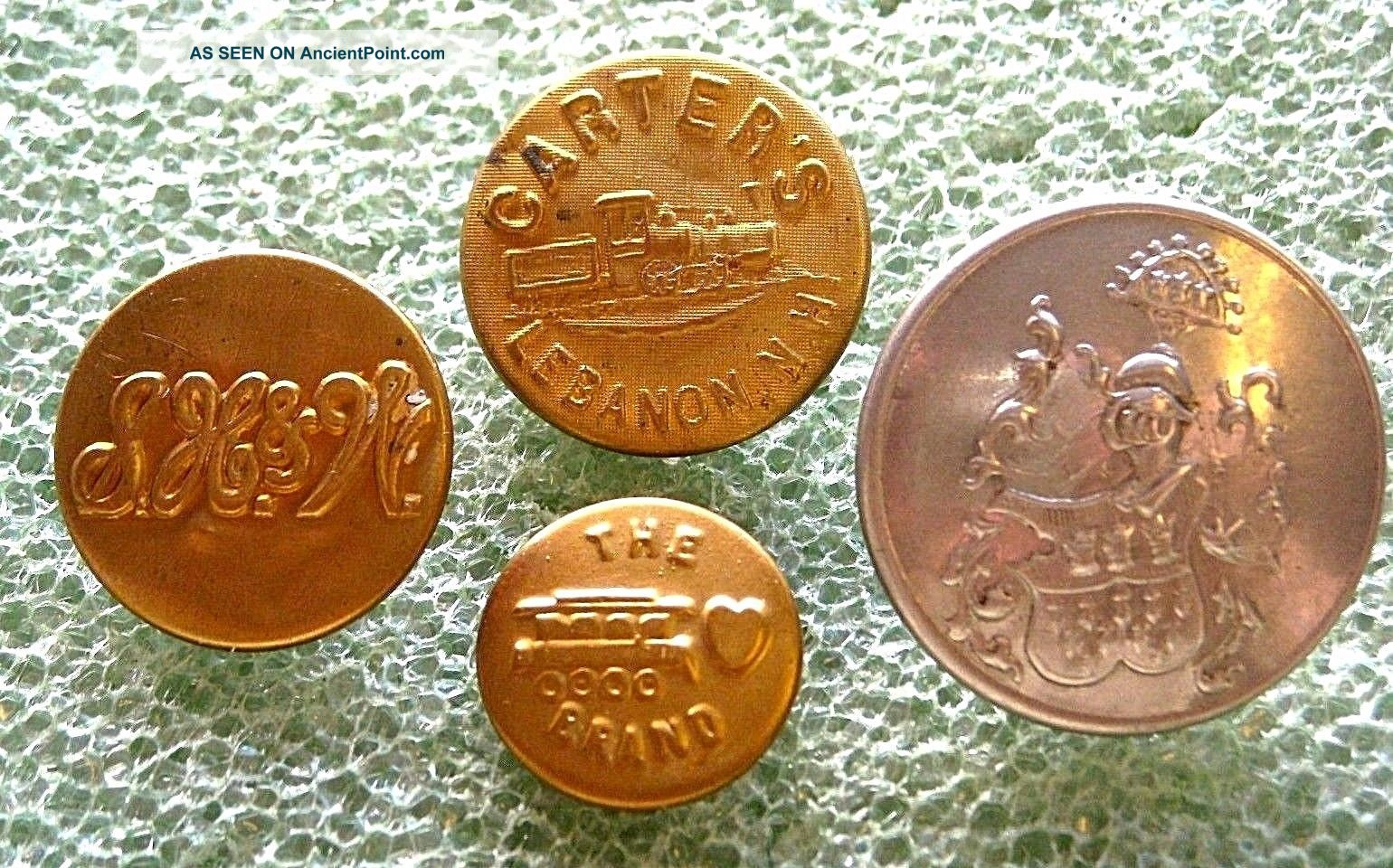 4 Antique Work Uniform Buttons Carter ' S Carhartt S.  H.  &w.  Livery Buttons photo