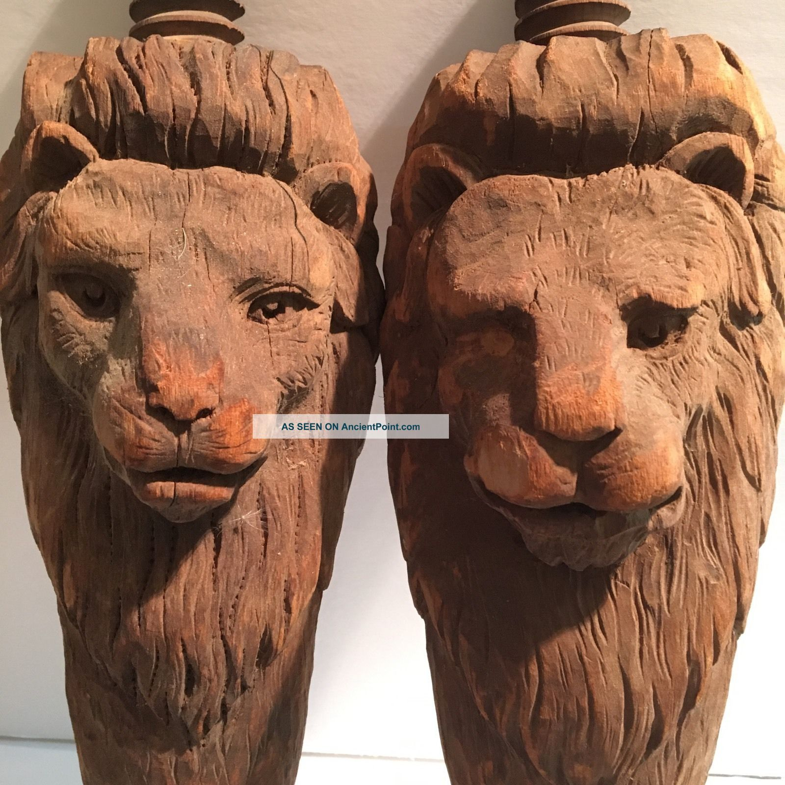 Wooden Pillars Bed Post 1861 Antique Rare Lion Cat Animal Hand Carved Latin American photo