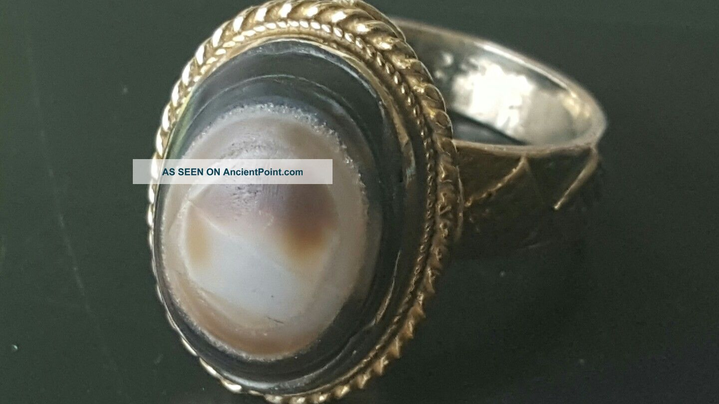 Rare Ancient Gold Gilded Silver Ring With Tiger Eye Glass Insert Roman photo