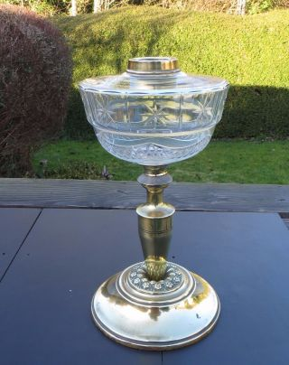 Antique/vintage Brass Oil Lamp Base With Cut Glass Font,  Duplex Collar photo