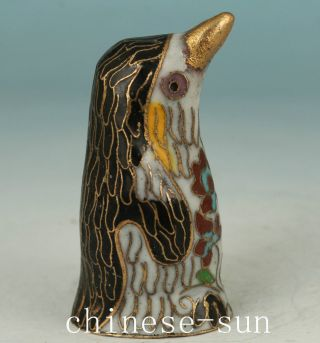 Asian Chinese Old Cloisonne Hand Carved Penguin Collect Statue Figure Decoration photo
