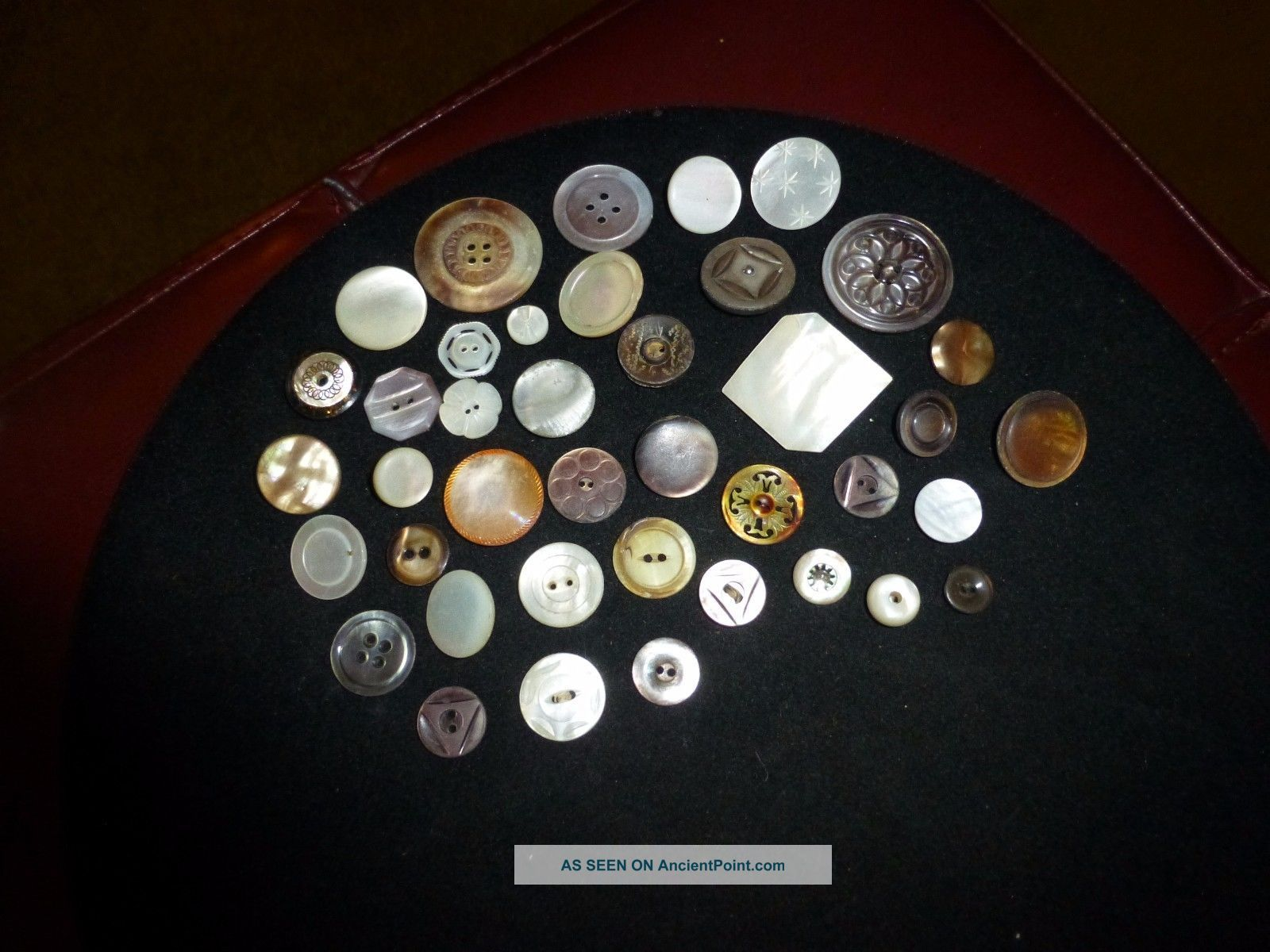 Antique Mother Of Pearl Buttons - Handcut And Carved - Light And Dark Buttons photo