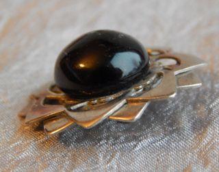 Antique Vintage Button Metal & Glass Cabochon Black 630 - A photo
