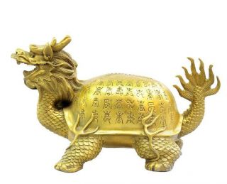 Chinese Fengshui Brass Wealth Longevity Dragon Turtle Tortoise Animal Statue photo