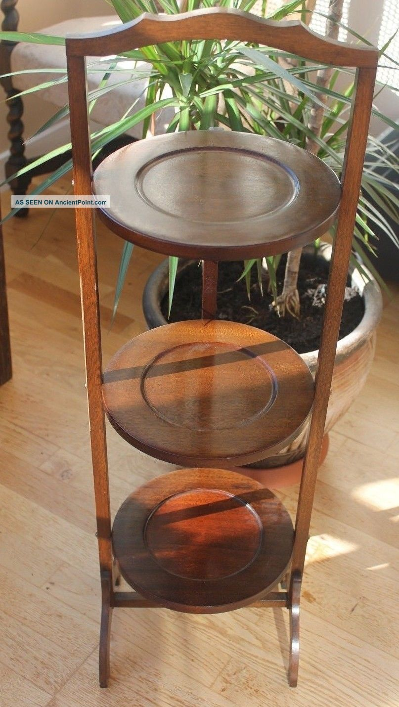 Antique 3 Tier Wooden Mahogany Folding Cake Stand C.  1940 Stands photo