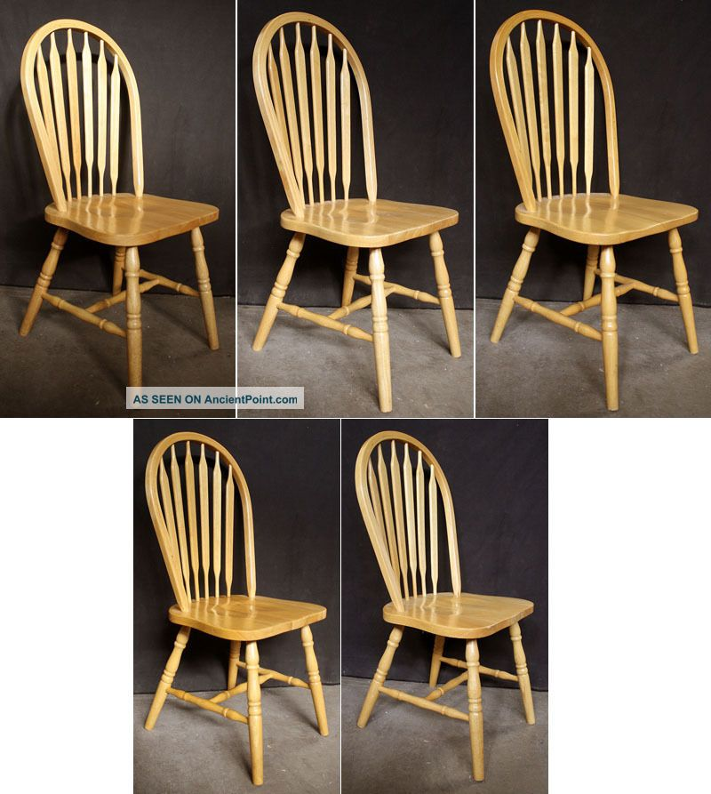 5 Vintage Spindle Back Windsor Ash Wood Wooden Dining Room Kitchen Side Chairs Post-1950 photo
