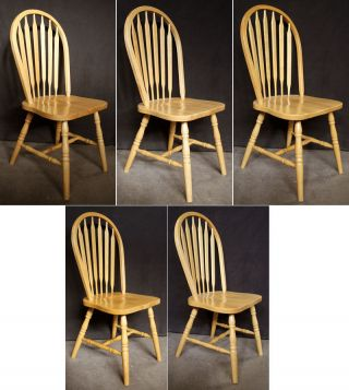 5 Vintage Spindle Back Windsor Ash Wood Wooden Dining Room Kitchen Side Chairs photo