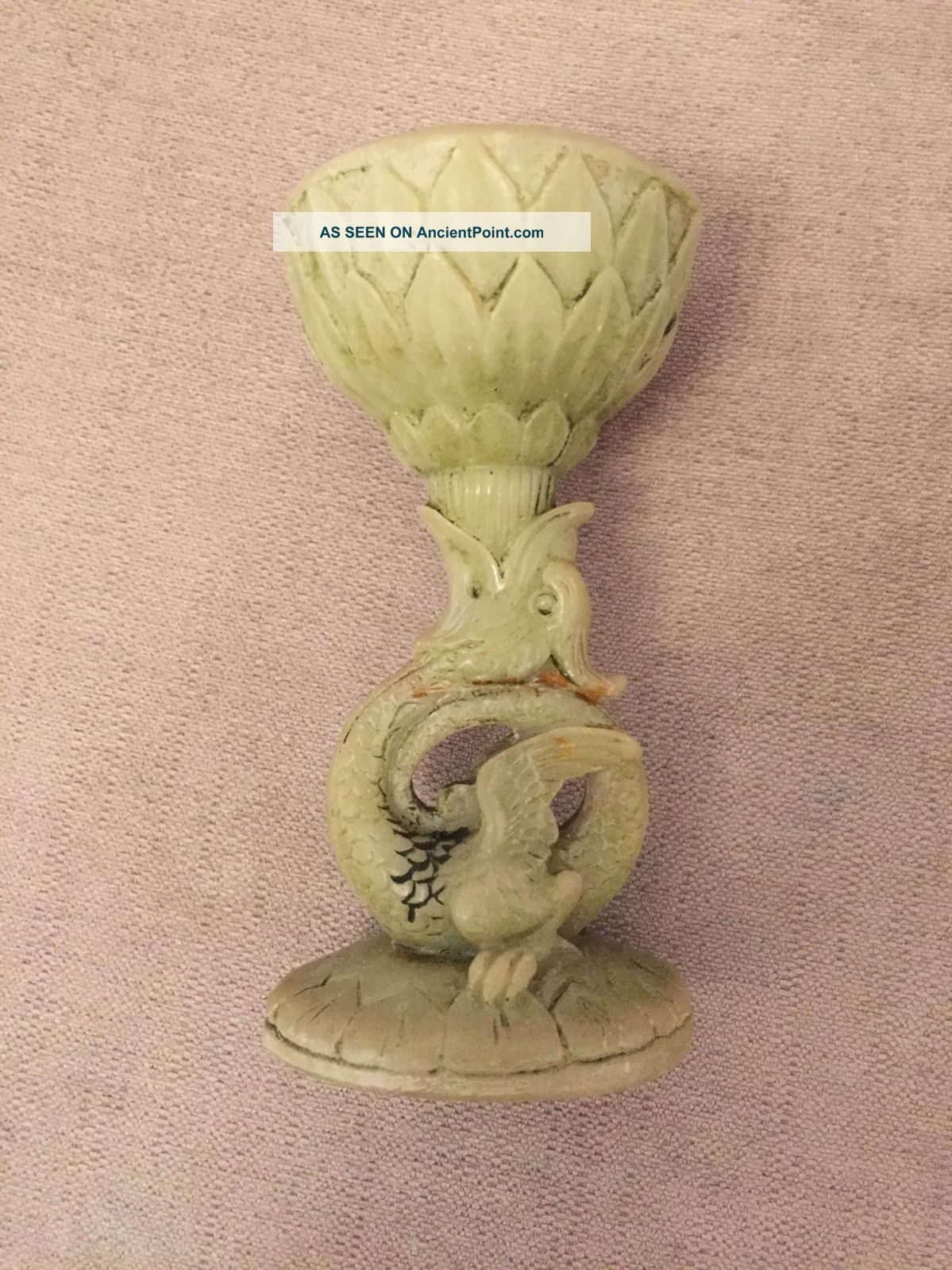 Vintage Dragon Green Stone / Resin Candlestick Candle Holder Oriental Asian Chinese photo