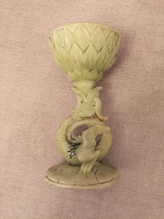 Vintage Dragon Green Stone / Resin Candlestick Candle Holder Oriental Asian photo