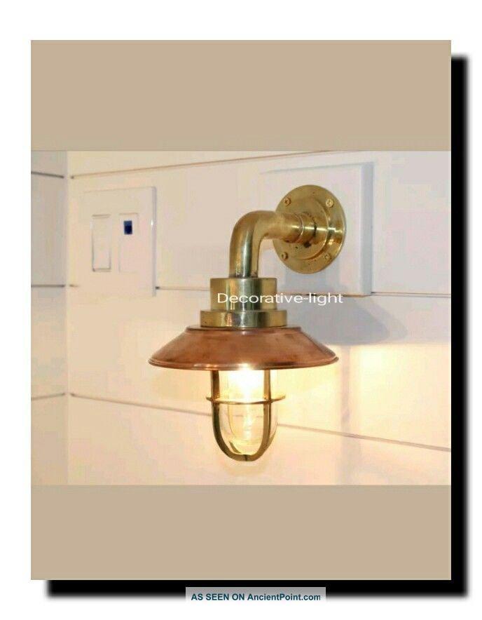 Nautical Light Marine Ship Brass Bulkhead Passage Outdoor Light Copper Deflector Lamps & Lighting photo
