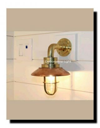 Nautical Light Marine Ship Brass Bulkhead Passage Outdoor Light Copper Deflector photo