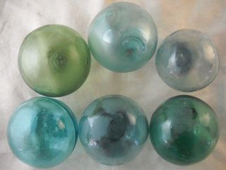 6 Vintage Japanese Different Colored Glass Floats Alaska Beach Combed photo