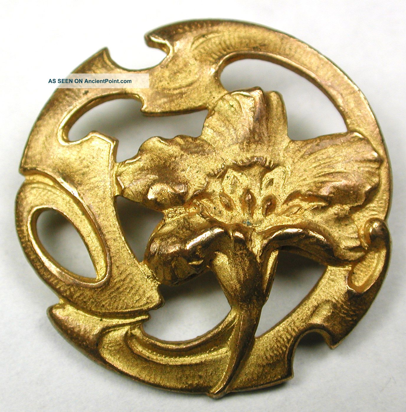 Med Sz Antique Pierced Brass Button Art Nouveau Flower Design - 1