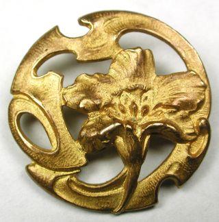 Med Sz Antique Pierced Brass Button Art Nouveau Flower Design - 1
