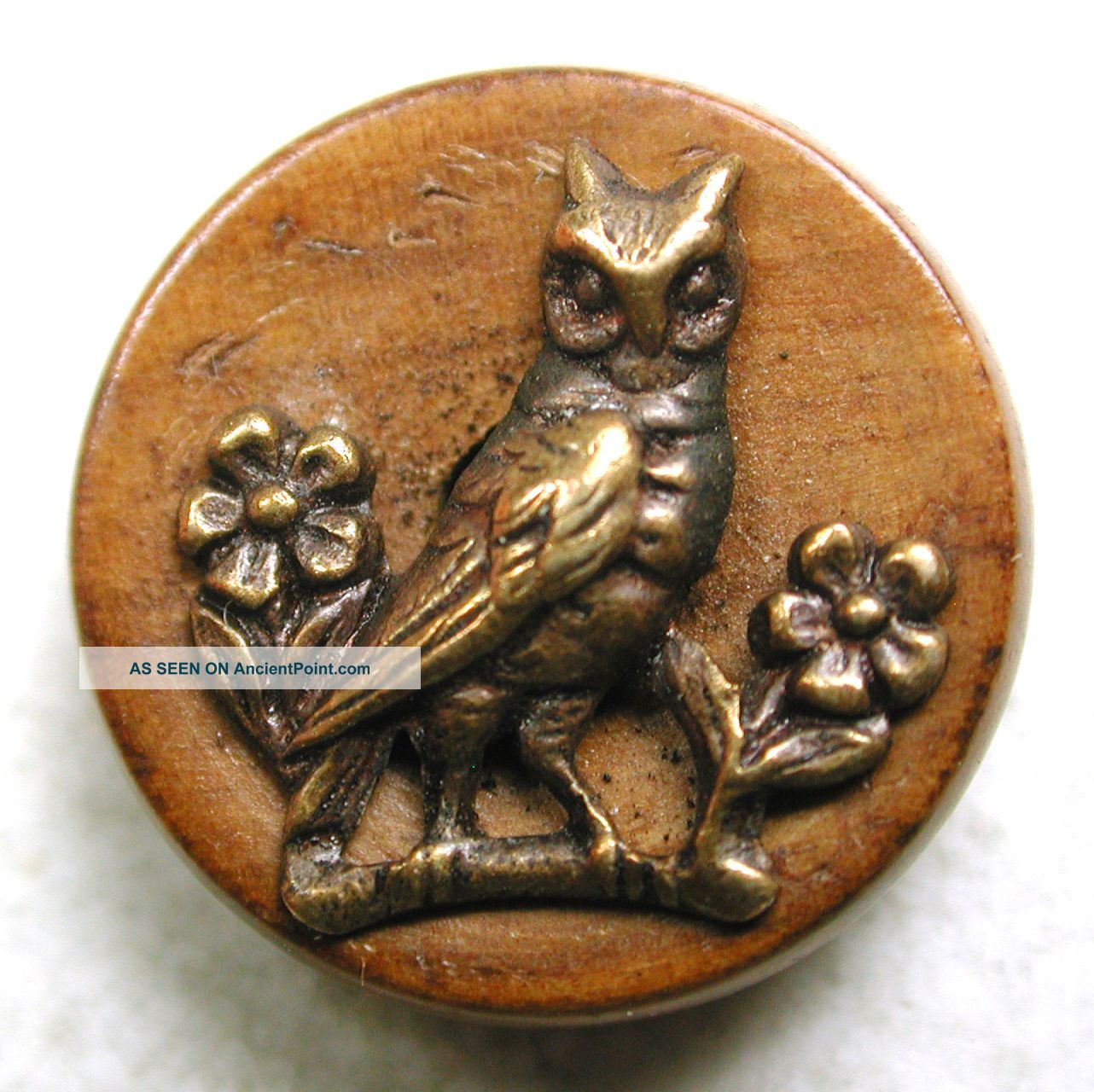 Antique Button Perched Brass Owl On A Wood Back - 9/16
