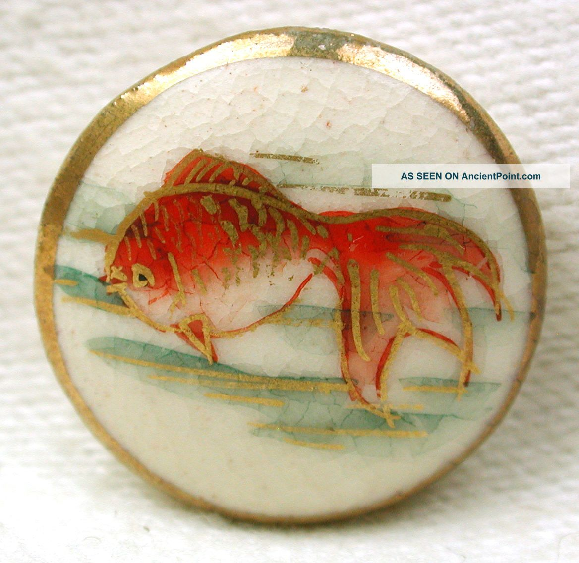 Vintage Satsuma Button Gold Fish Pictorial W/ Gold Accents - 11/16