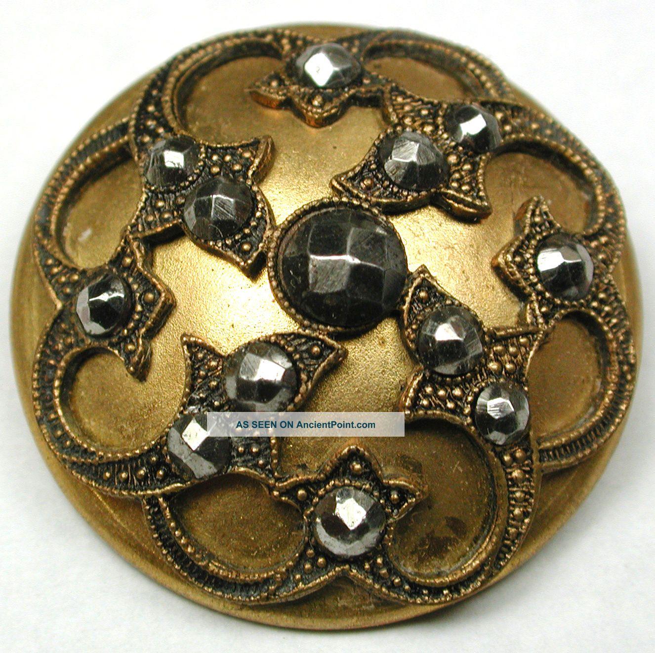 Lg Sz Antique Brass Dome Button Fancy Design W/ Cut Steel Accents - 1 & 1/4 Buttons photo