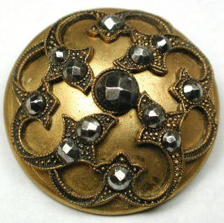 Lg Sz Antique Brass Dome Button Fancy Design W/ Cut Steel Accents - 1 & 1/4 photo