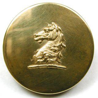 Lg Antique Brass Livery Crest Button - Horse Stallion Head Design - 1 & 5/16