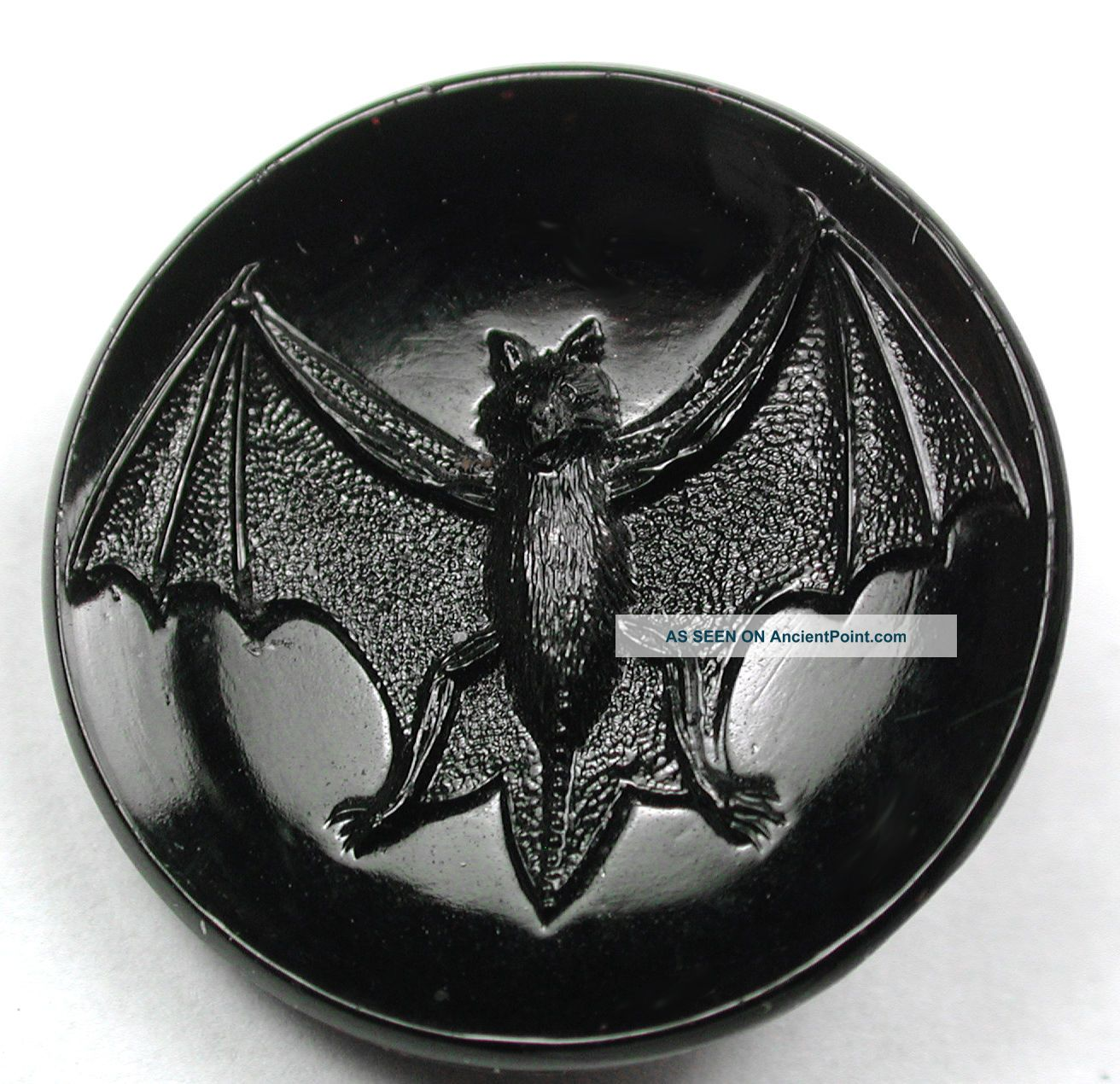 Antique Black Glass Button Bat W/ Wings Spread Wide - 7/8