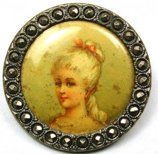 Lg Sz Antique Lithograph Button Pretty Young Woman Design 1 & 1/4