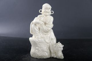 Exquisite Chinese Hand Carved White Porcelain Arhat Statue J59 photo
