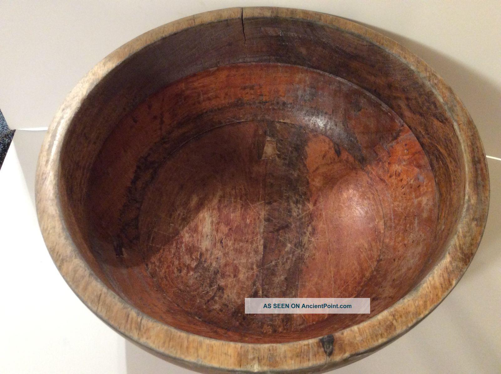 Antique Old Primitive Wooden Wood Bowl 12