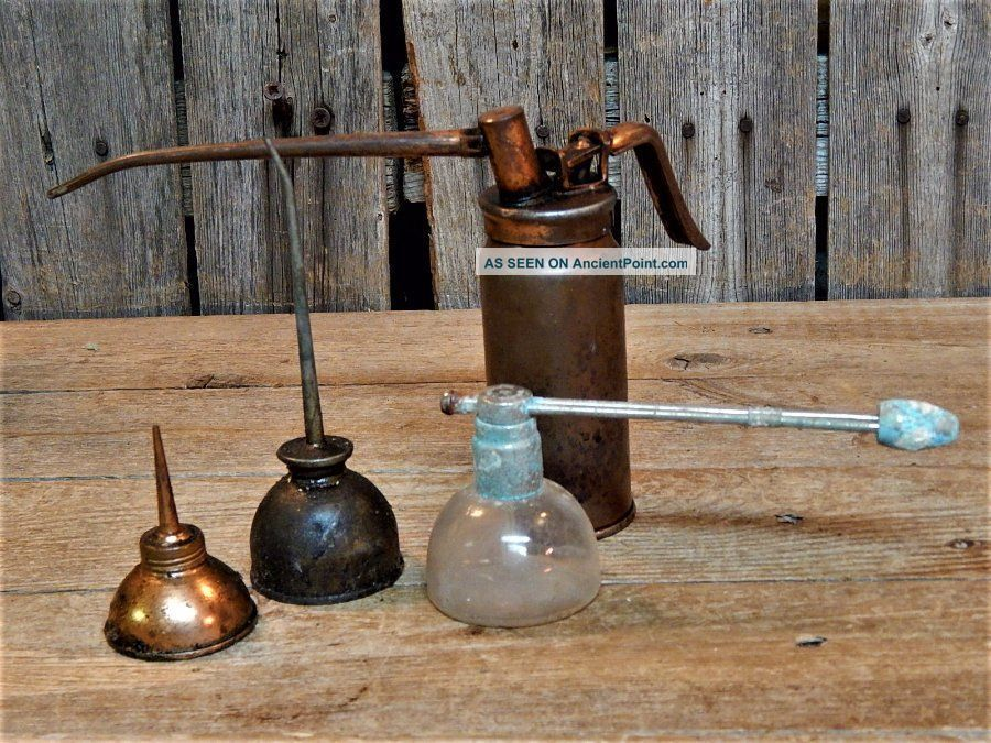 4 Antique Primitive Miniature Small Oil Cans Copper Old Tools,  Glass Primitives photo