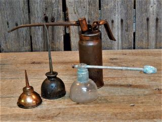 4 Antique Primitive Miniature Small Oil Cans Copper Old Tools,  Glass photo