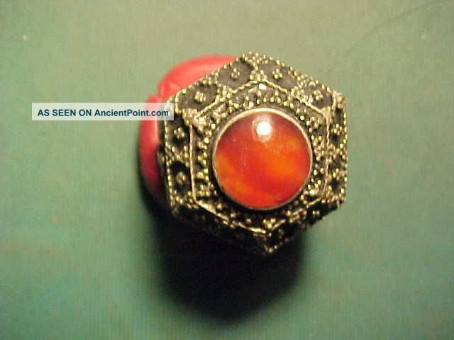 Near Eastern Hand Crafted Ring Carnelian Stone (script) 1700 - 1900 Near Eastern photo